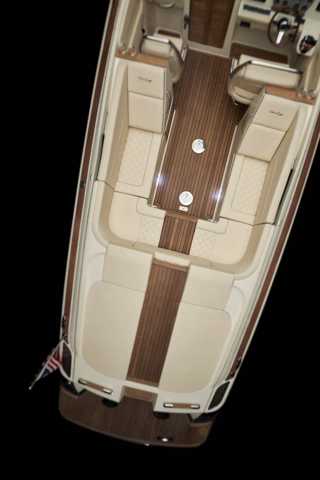 Chris Craft Corsair 34 Aft Overhead Shot